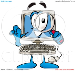 Clipart-Picture-Of-A-Desktop-Computer-Mascot-Cartoon-Character-Looking-Through-A-Magnifying-Glass-10247843