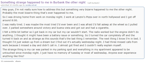 Something strange happened to me in Burbank the other night   burbank