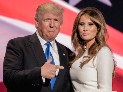 July 18, 2016 - Cleveland, Ohio, U.S. - Republican U.S. presidential candidate DONALD TRUMP gestures at his wife MELANIA TRUMP after she concluded her remarks at the Republican National Convention.  (Credit Image: � Mark Reinstein via ZUMA Wire)